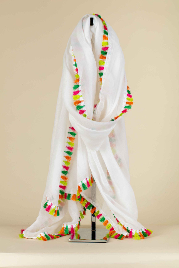 FOULARD BIANCO CON NAPPINE MULTICOLOR