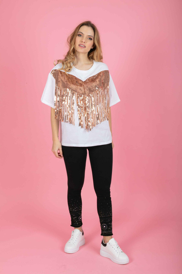 T-SHIRT FRANGE IN PAILLETTES LAURA