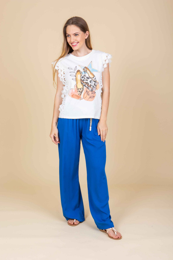 T-shirt stampa tacco Merletto