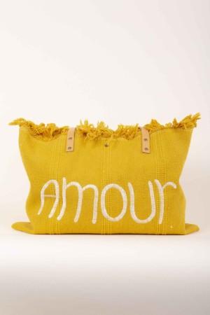 Borsa in tessuto con manico in pelle scritta Amour